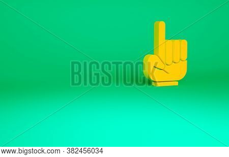 Orange Number 1 One Fan Hand Glove With Finger Raised Icon Isolated On Green Background. Symbol Of T