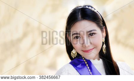 Close Up Head Shot Close Up Face  Of Thai Asian Woman In Concept A Smile Of Thai People. Thai People