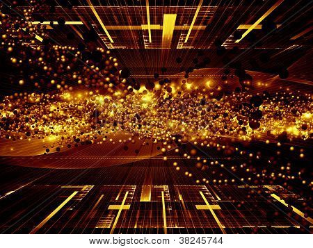 Abstract design made of atomic particles in space on the subject of science physics and technology poster