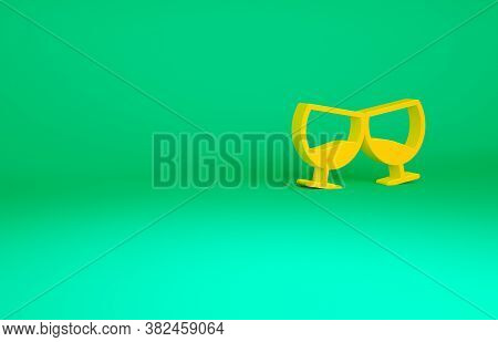 Orange Glass Of Cognac Or Brandy Icon Isolated On Green Background. Minimalism Concept. 3d Illustrat