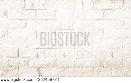 Empty Background Of Wide Cream Brick Wall Texture. Old Brown Bri