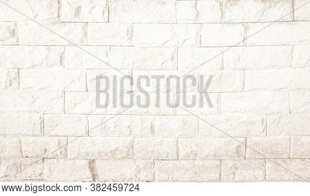 Empty Background Of Wide Cream Brick Wall Texture. Old Brown Bri