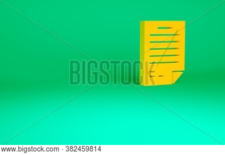 Orange Exam Paper With Incorrect Answers Survey Icon Isolated On Green Background. Bad Mark Of Test