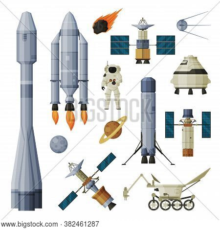 Astronaut, Space Objects And Cosmos Exploration Equipment Collection, Astronautics And Space Technol