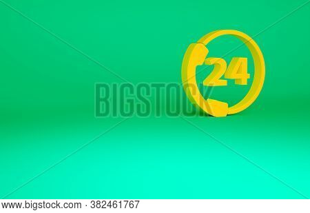 Orange Telephone 24 Hours Support Icon Isolated On Green Background. All-day Customer Support Call-c