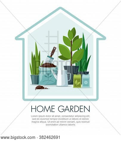 Garden Tools Set Isolated On Blue Background. Garden Shovel, Watering Can, Seeds And Pots With Trans