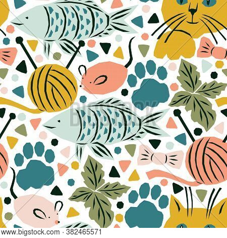 Seamless Pattern With Cats Life Elements. Funny And Bright Vector Illustration With Cats, Cats Paws,