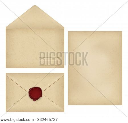 Vintage Envelope With Place For Address, Empty Old Grunge Paper Writing Letter, Dark Red Wax Seal Po