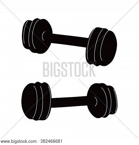 Vector Illustration Of Adjustable Or Collapsible Dumbbells Isolated On White Background. Sport Equip