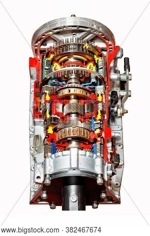 A Cutaway Automatic Transmission Of A Modern Car Is Presented At The Exhibition Stand, The Image Is