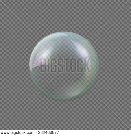 Realistic Vector Big Round Crystal Soap Bubble Isolated On Gray Transparent Background. Huge Translu
