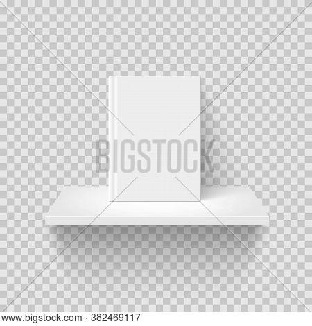 Decorative Bookshelf Realistic Vector Illustration. Rack Mockup Front View. 3d Shelf With Blank Book