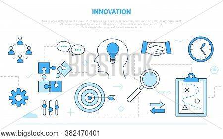 Innovation Concept With Team Brainstorming Idea Invention Campaign For Website Homepage Template Lan
