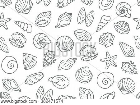 Seashell Seamless Pattern. Vector Background Included Line Icons As Ocean Sea Shells, Scallop, Starf