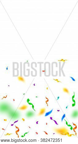 Streamers And Confetti. Colorful Streamers Tinsel And Foil Ribbons. Confetti Gradient On White Backg