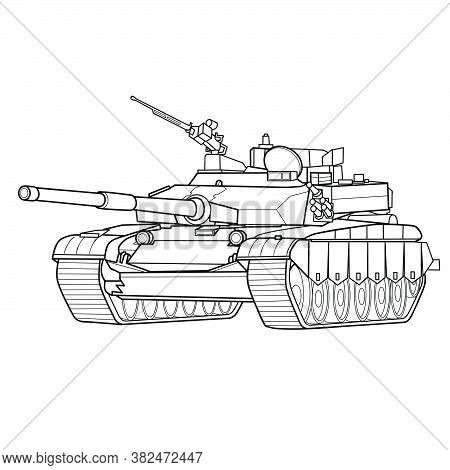 Sketch Of Armored Vehicle, Tank, Coloring Book, Isolated Object On White Background, Vector Illustra