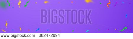 Streamers And Confetti. Colorful Streamers Tinsel And Foil Ribbons. Confetti Vignette On Violet Back