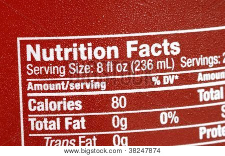 Focus on the nutrition facts concepts of eat healthy