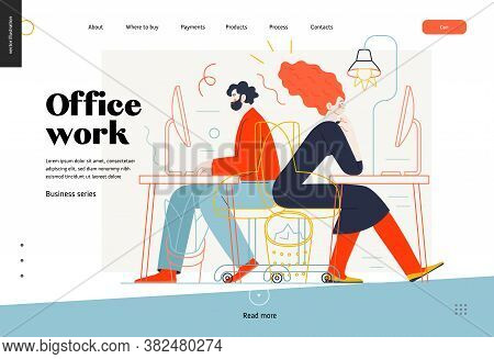 Business Topics - Office Work, Web Template. Flat Style Modern Outlined Vector Concept Illustration.