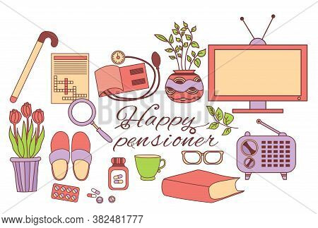 Colored Set Of Happy Pensioner Icons. The Elderly Persons Items Are A Crossword Puzzle And A Televis