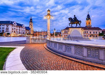 Oradea, Romania With Union Square (piata Unirii) Western Transylvania Twilight Sightseeing.