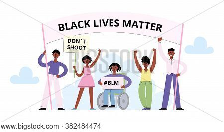 Black Lives Matter Vector Concept With Afroamerican People On Demonstration