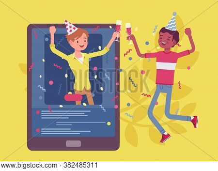 Boys Meet Up Virtually By Tablet To Enjoy Online Party. Happy Friends, Video Chat Apps Celebrations,