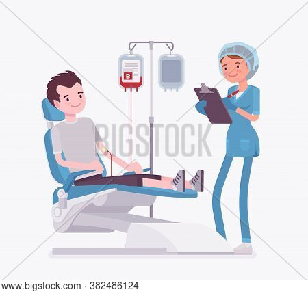 Blood Donation For Medical Bank, Male Donor Or Patient Transfusion. Female Doctor And Young Healthy