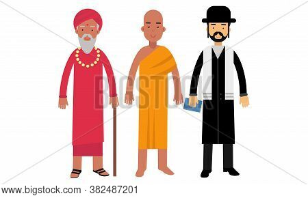 Man Representatives Of Different Religion Like Buddhism, Hinduism And Judaism Vector Illustration Se