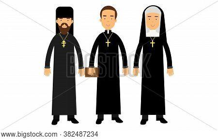 Man Representatives Of Different Religion Like Orthodoxy And Catholic Religion Vector Illustration S
