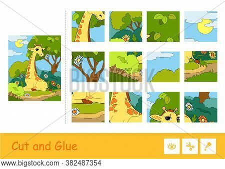 Cut And Glue Vector Puzzle Learning Children Game With Colorful Image Of A Giraffe Eating A Flower I