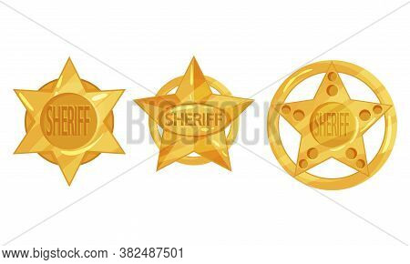 Golden Sheriff Badges With Star As Authority Sign Vector Set