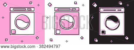 Set Washer Icon Isolated On Pink And White, Black Background. Washing Machine Icon. Clothes Washer -