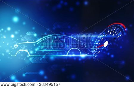 Car Outline With Speed Motion Background With Fast Speedometer, Car Racing Velocity Background, Digi