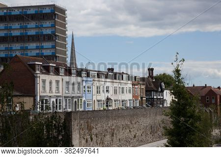 Houses On The Town Wall With A Highrise Behind In Southampton, Hampshire In The Uk, Taken On The 10t