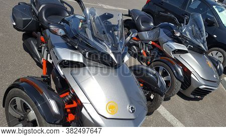 Bordeaux , Aquitaine / France - 08 16 2020 : Can-am Spyder F3 Brp Two Trike Gray And Red New Model