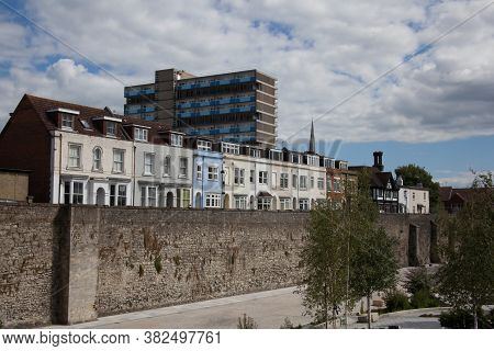 Houses On The Town Wall At West Quay In Southampton, Hampshire In The Uk, Taken On The 10th July 202