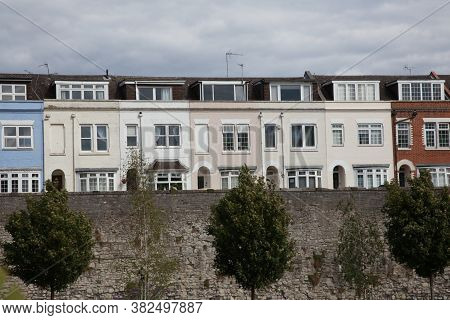 A Row Of Quaint Terrace Houses On The Town Wall In Southampton, Hampshire In The Uk, Taken On The 10