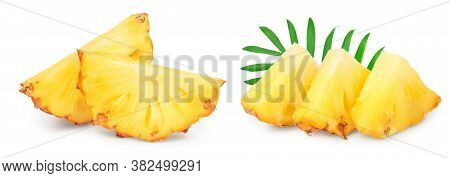 Pineapple Slice Isolated On White Background With Clipping Path And Full Depth Of Field