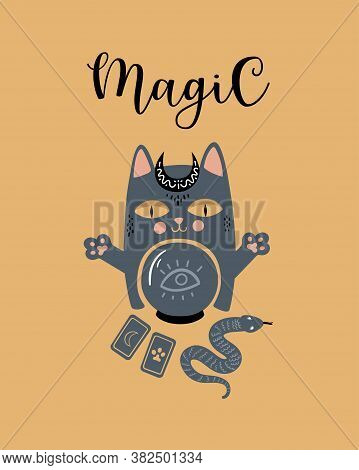 Vector Magical Illustration With Mystical Cat. Witchcraft And Occultism Symbols: Snake, Crystals, Ta