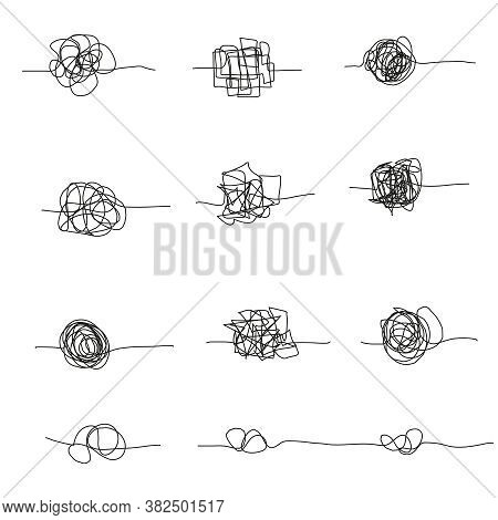 Set Of Random Chaotic Lines. Hand Drawing Insane Tangled Scribble Clew. Vector Icon Isolated On Whit