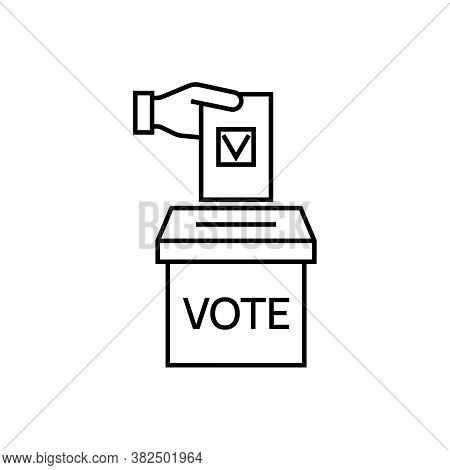 Vector Vote Line Icon. Hand Putting Ballot Paper In The Voting Box. Election Illustration.
