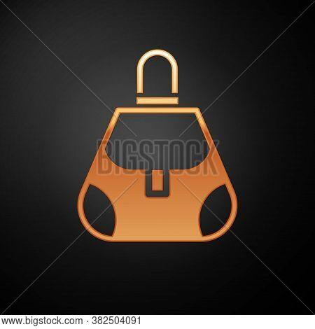 Gold Handbag Icon Isolated On Black Background. Female Handbag Sign. Glamour Casual Baggage Symbol.