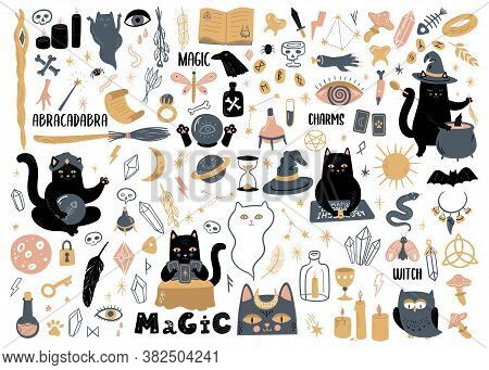 Vector Collection With Witchcraft And Occultism Symbols.  Magic Set Of Illustrations With Black Cats