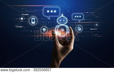 Virtual Assistant. Hand Touching Chatbot Robot Icon On Digital Screen, Using Modern Technologies, Cr