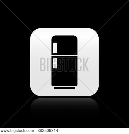 Black Refrigerator Icon Isolated On Black Background. Fridge Freezer Refrigerator. Household Tech An