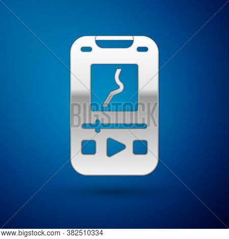 Silver Music Player Icon Isolated On Blue Background. Portable Music Device. Vector