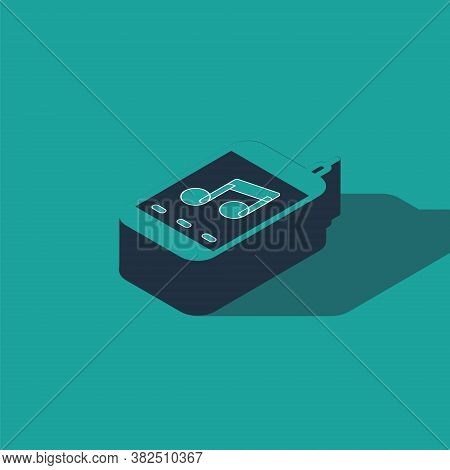 Isometric Music Player Icon Isolated On Green Background. Portable Music Device. Vector