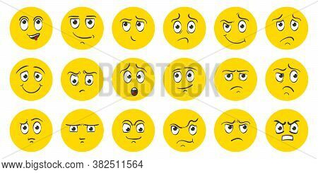 Funny Cartoon Faces With Emotions. Happy Surprised Faces, Doodle Characters Mouth And Eyes. Caricatu