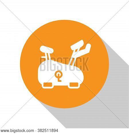 White Stationary Bicycle Icon Isolated On White Background. Exercise Bike. Orange Circle Button. Vec